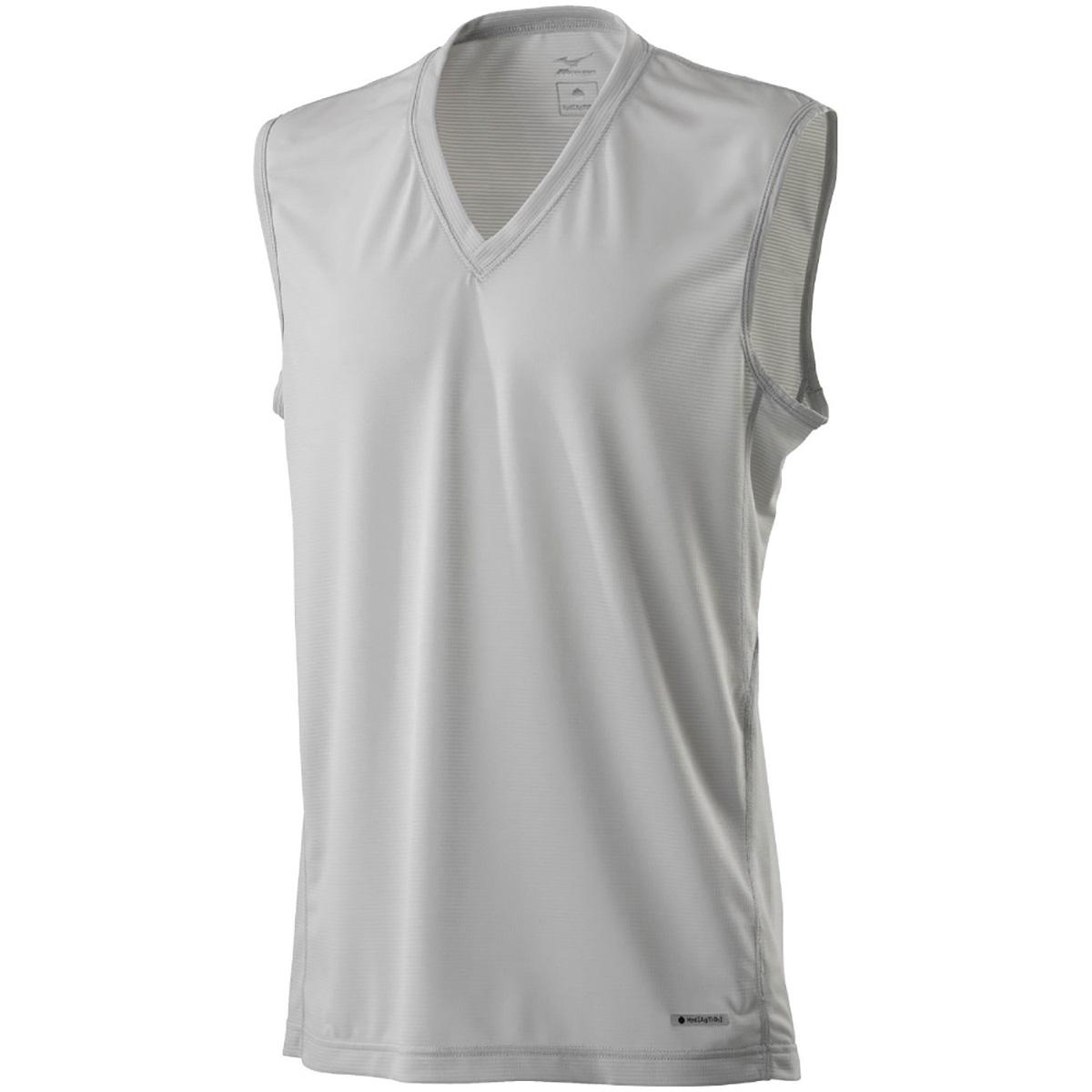 ハイドロ銀チタン Vネックノースリーブシャツ