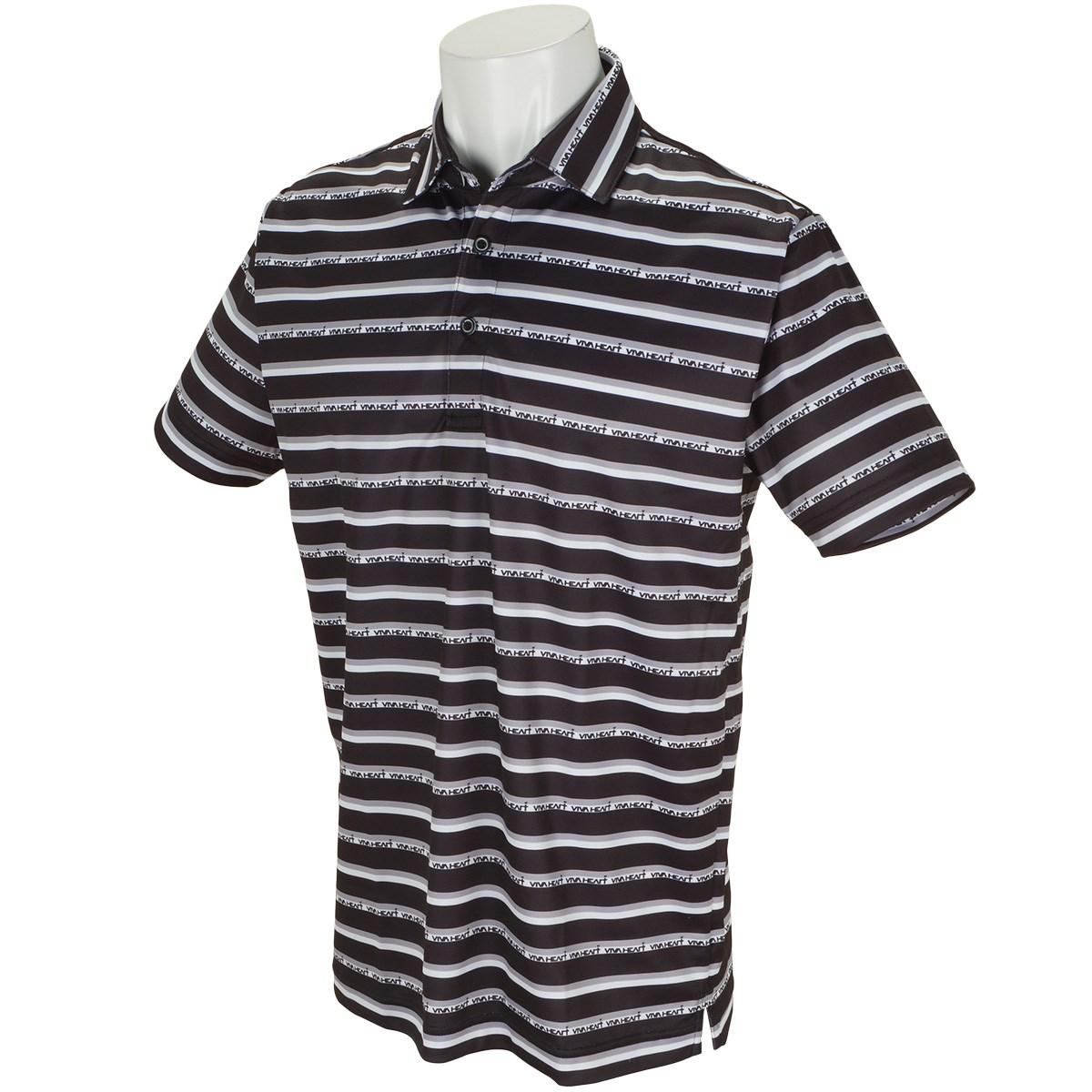 ビバハート ロゴボーダープリント鹿の子 半袖ポロシャツ
