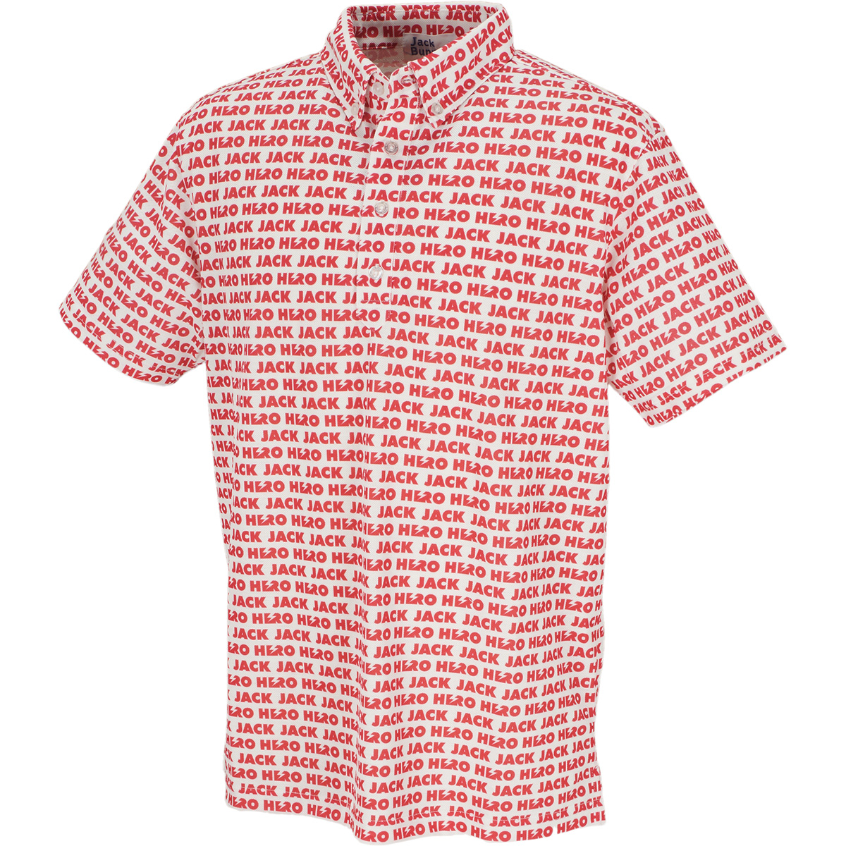 スパン鹿の子 HEROプリント半袖ポロシャツ