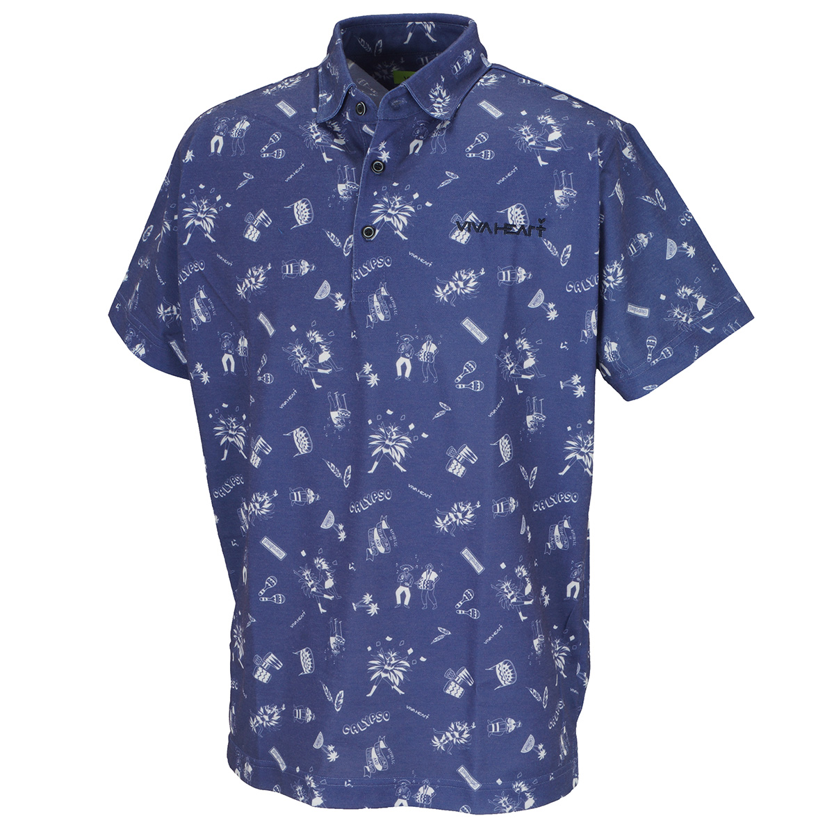 カーニバルプリント 鹿の子半袖ポロシャツ