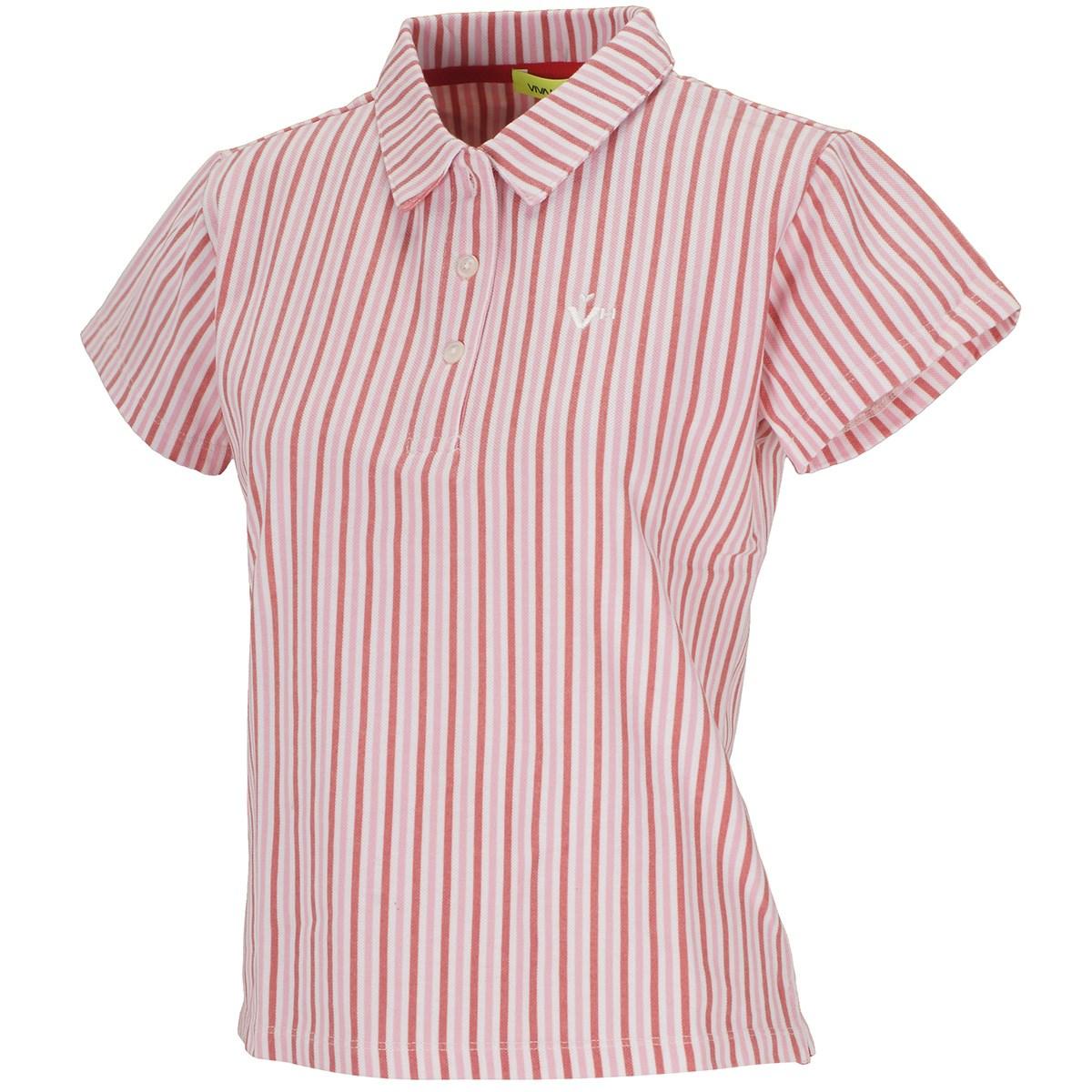 ビバハート VIVA HEART ストライププリント鹿の子 半袖ポロシャツ 40(M) レッド 063 レディス