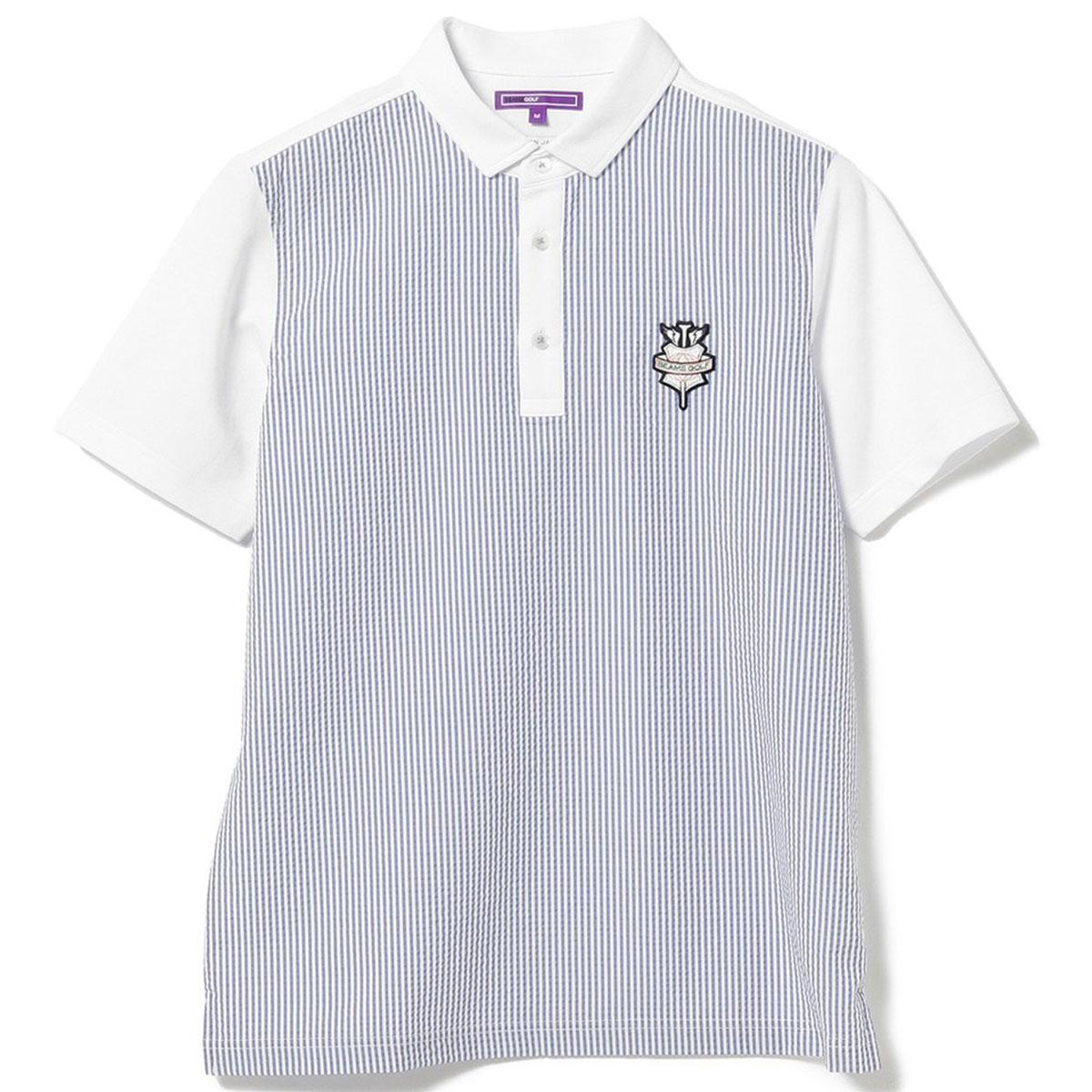 BEAMS GOLF PURPLE LABEL サッカーストライプ クレリック ポロシャツ
