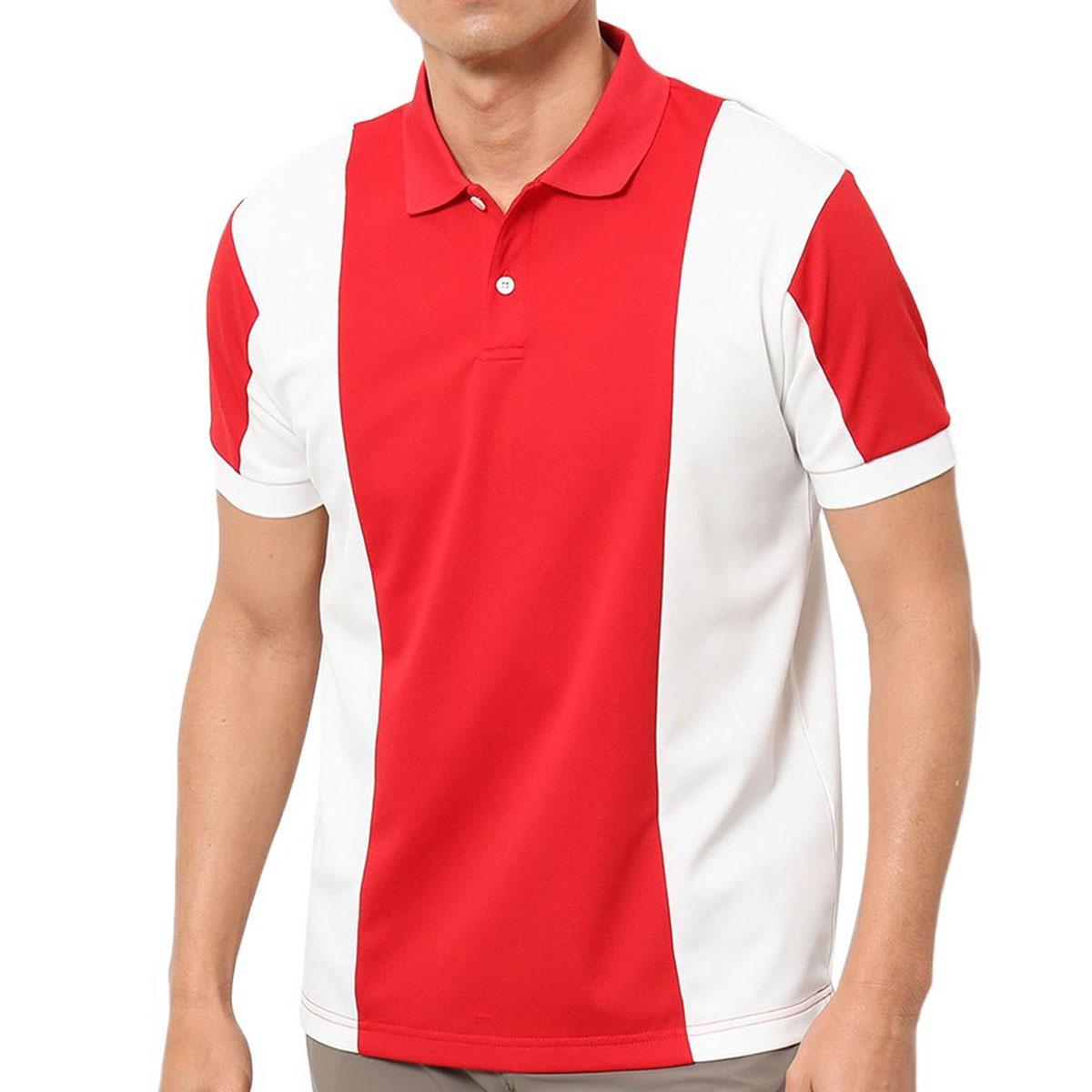 鹿の子パイル 配色切替半袖ポロシャツ