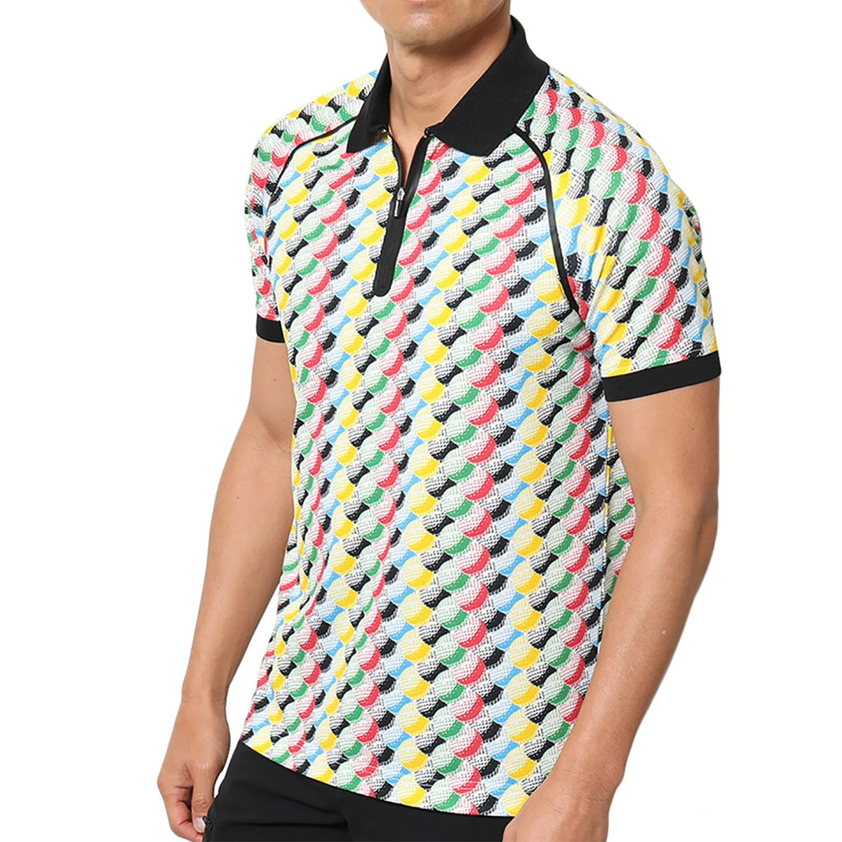 ジュン アンド ロペ ボールパターン柄 半袖ポロシャツ