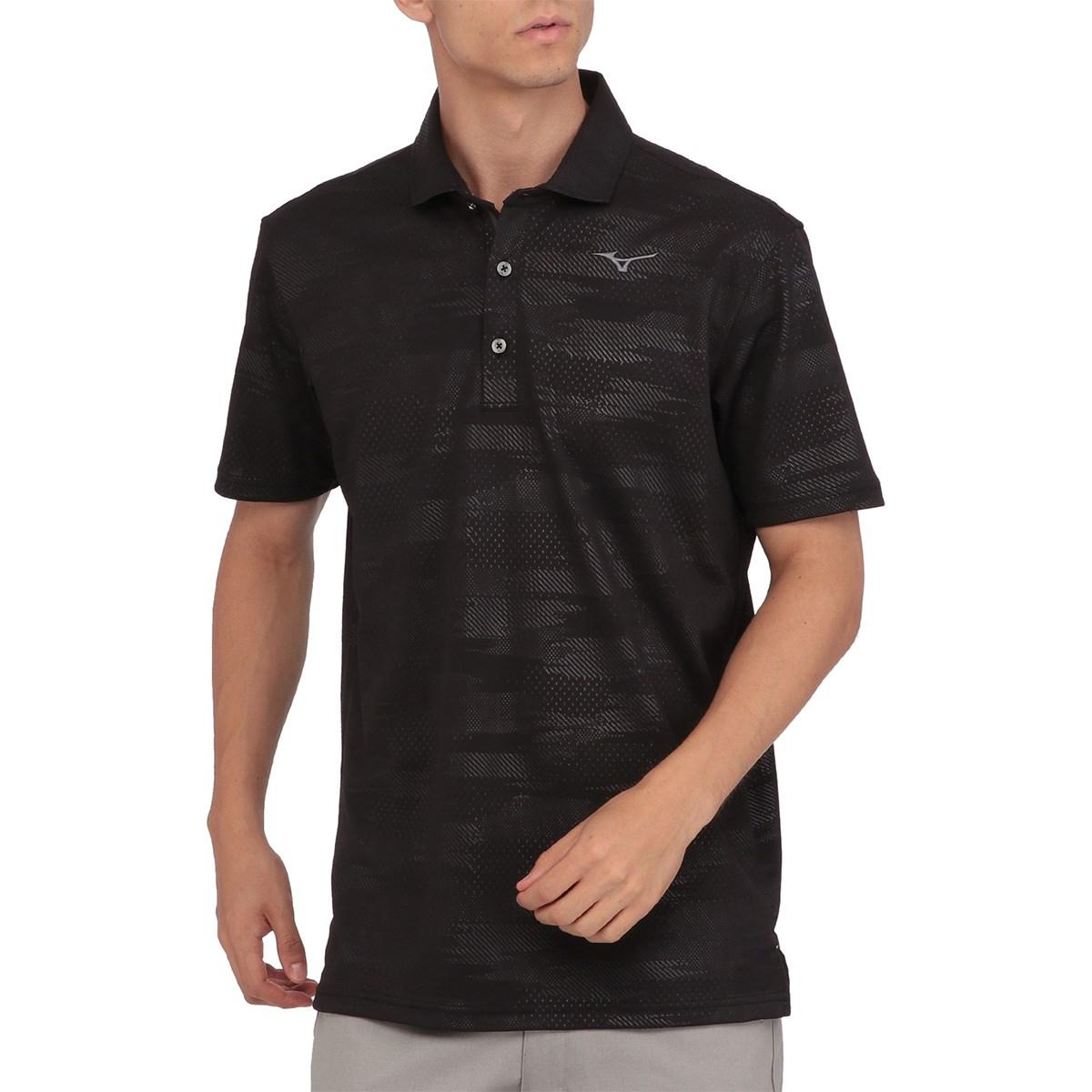 ミズノ MIZUNO GOLF ソーラーカットプリント半袖ポロシャツ L ブラック 09