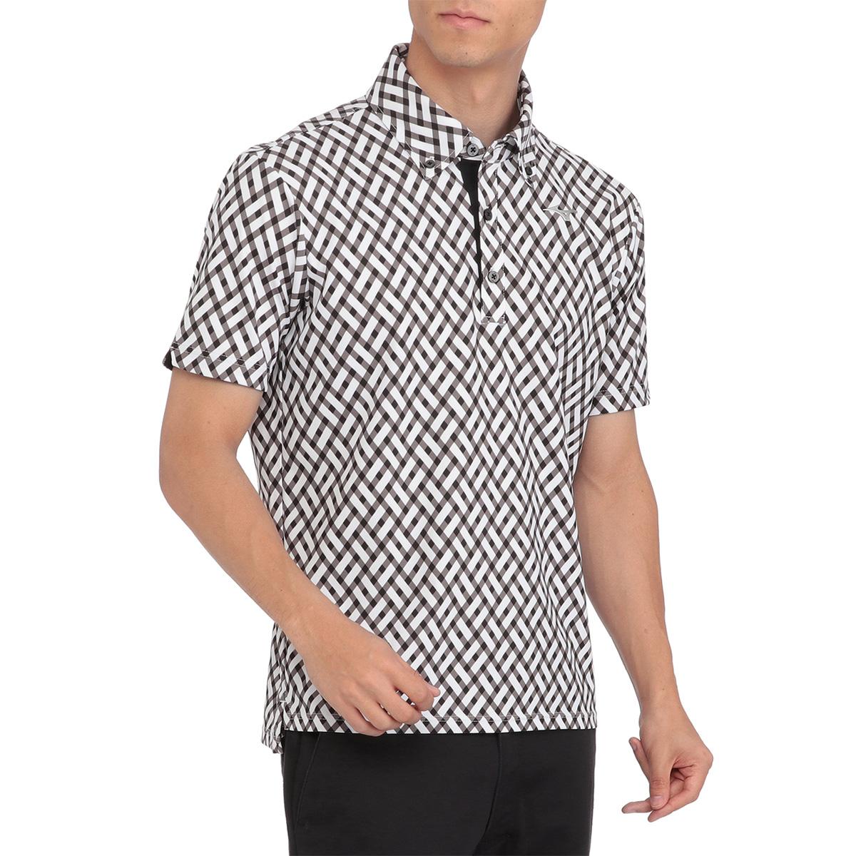 GOLF プリント柄ストレッチ半袖ポロシャツ