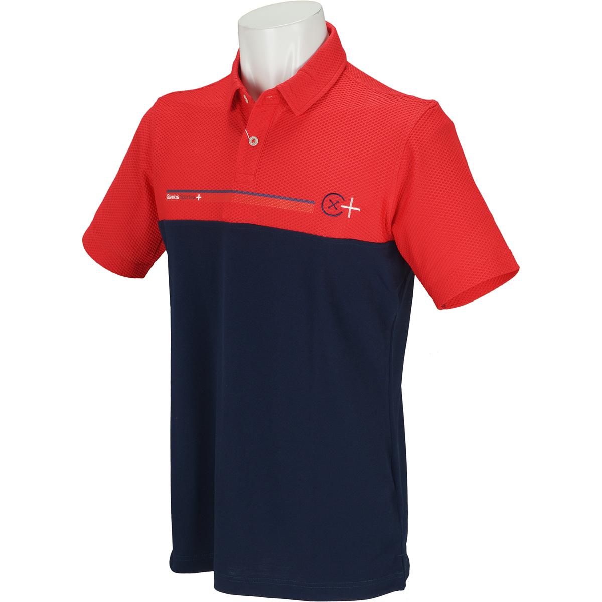 プラスリッチ 半袖異素材切替ポロシャツ