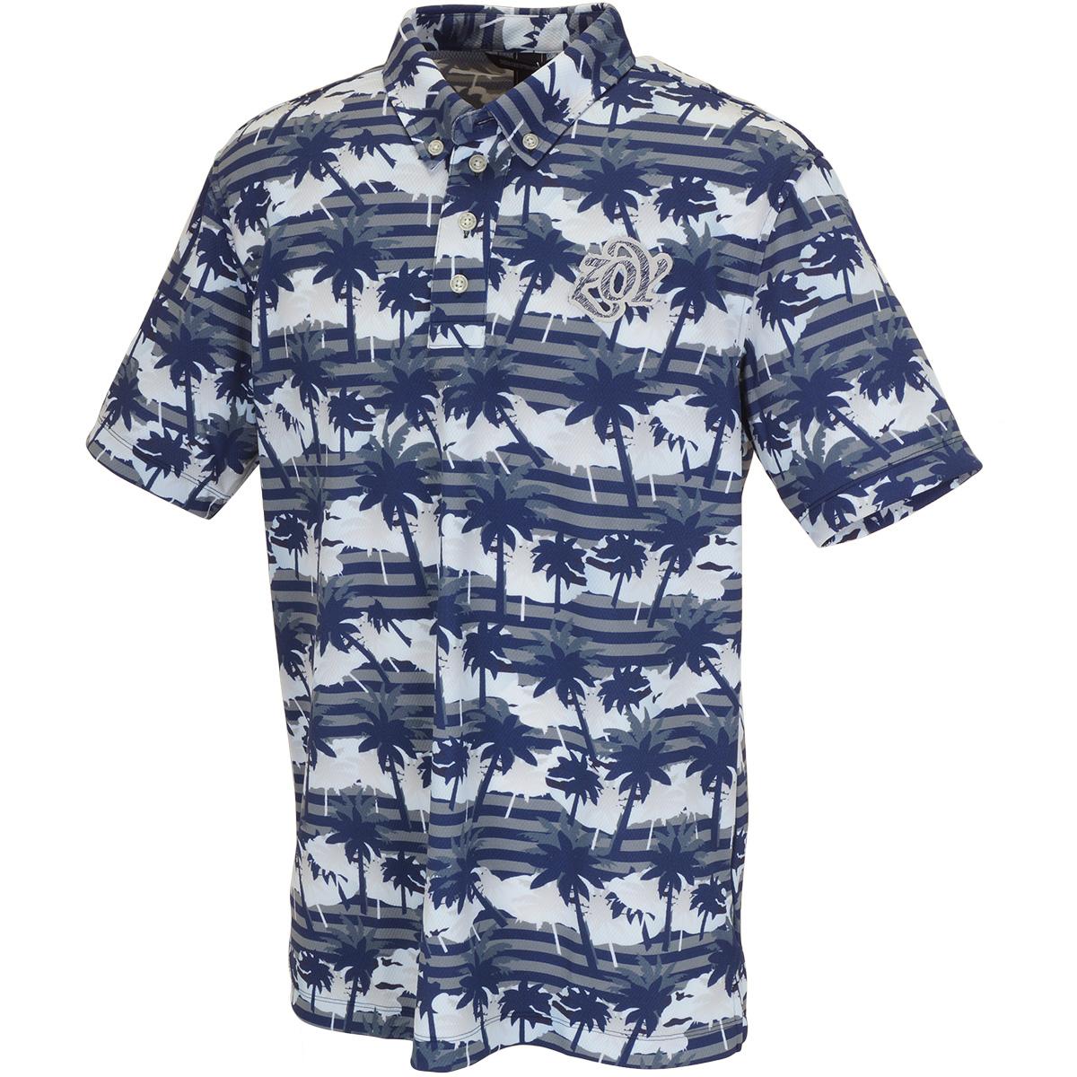 パームツリープリント 半袖ポロシャツ
