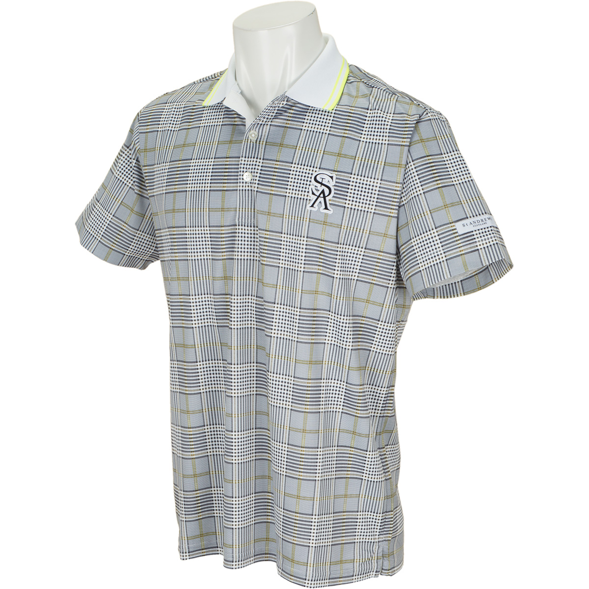 Uchimizuグレンチェックプリント半袖ポロシャツ