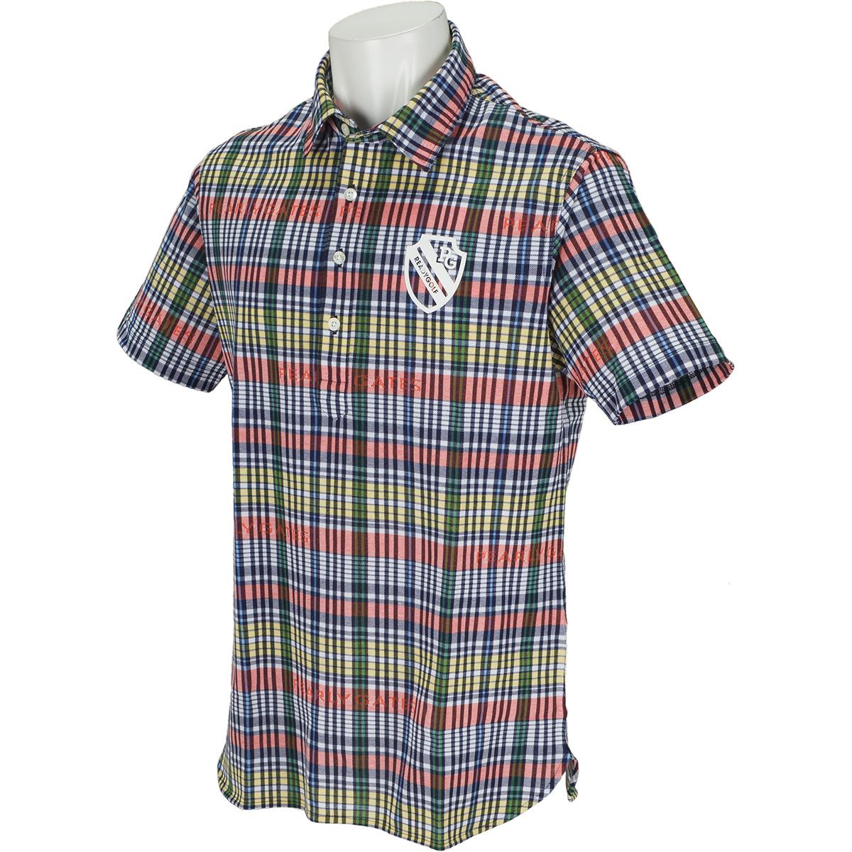 マドラス柄ハイブリットプリント半袖ポロシャツ