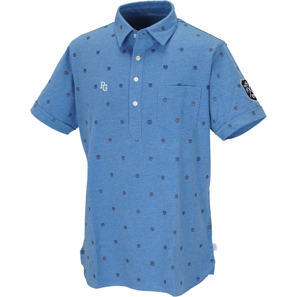 天竺 ジャカードコードレーン半袖ポロシャツ