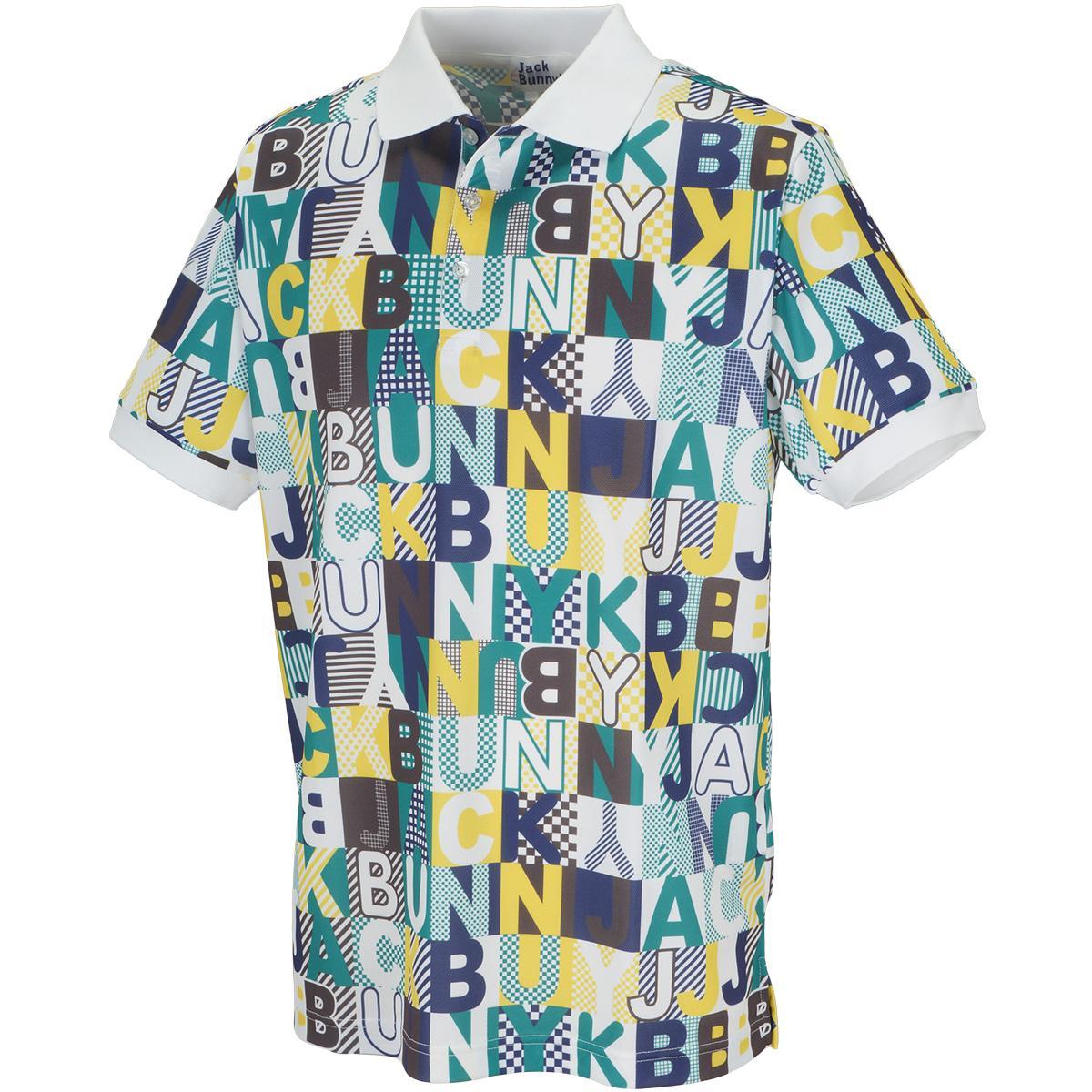 鹿の子 クレイジーロゴプリント 半袖ポロシャツ