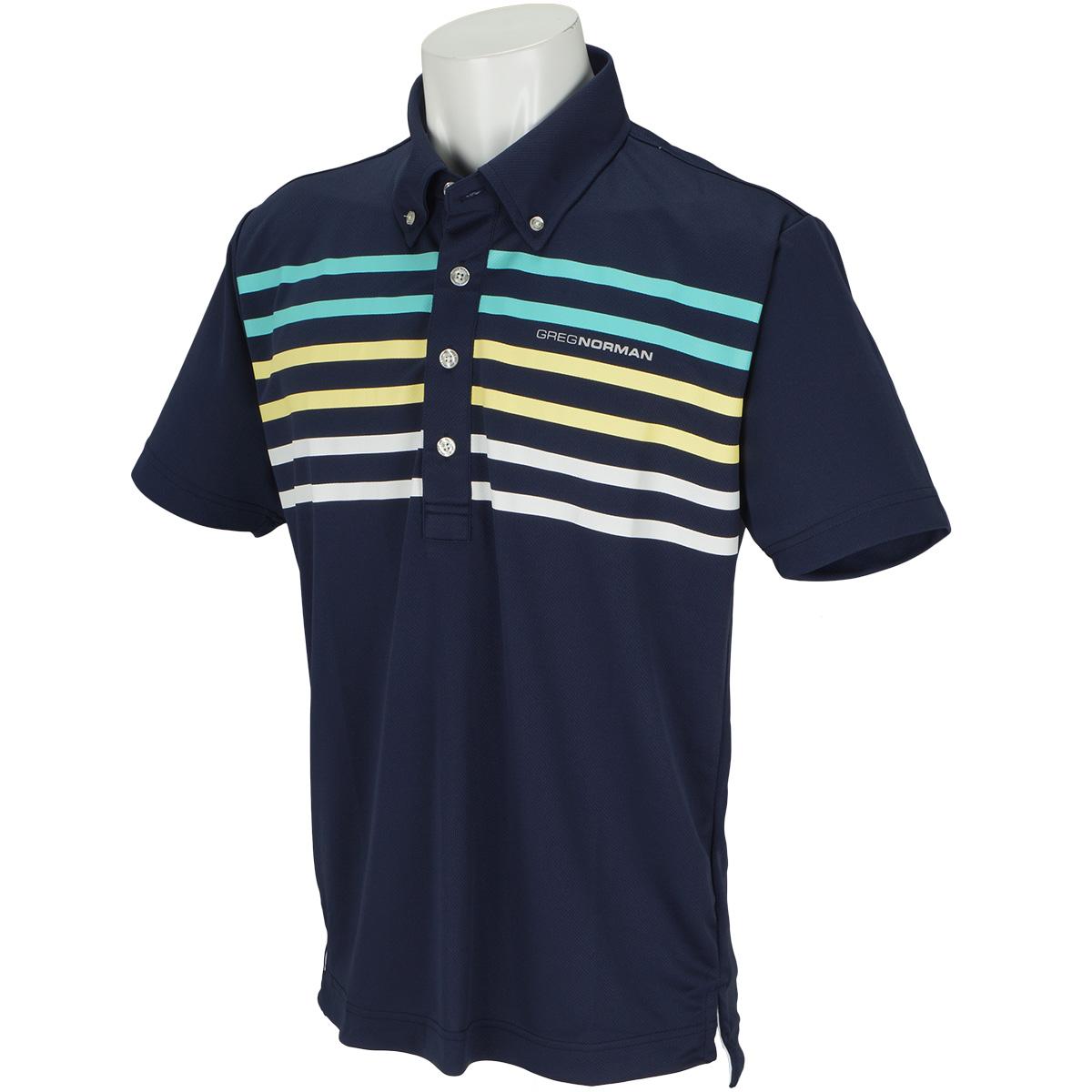 パネルボーダー 半袖ボタンダウンポロシャツ