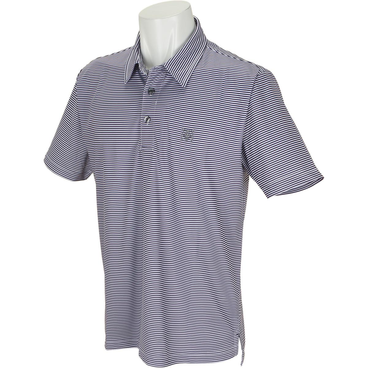 細ボーダー半袖ポロシャツ