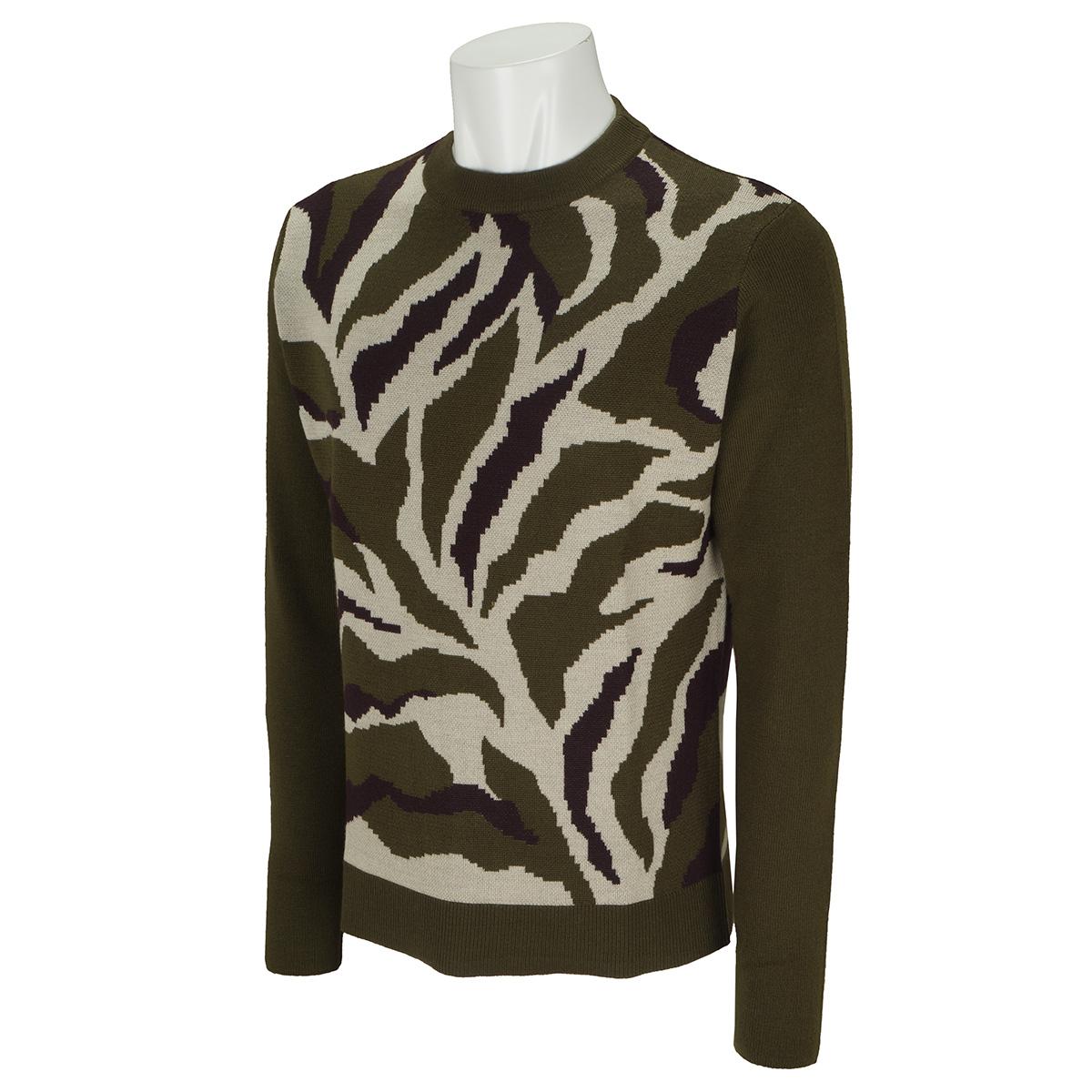 ジャカードカモ クルーネックセーター