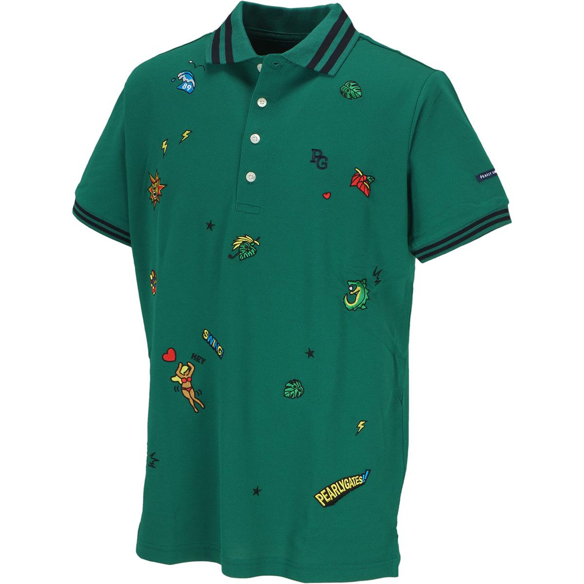 タック鹿の子 エンブ半袖ポロシャツ