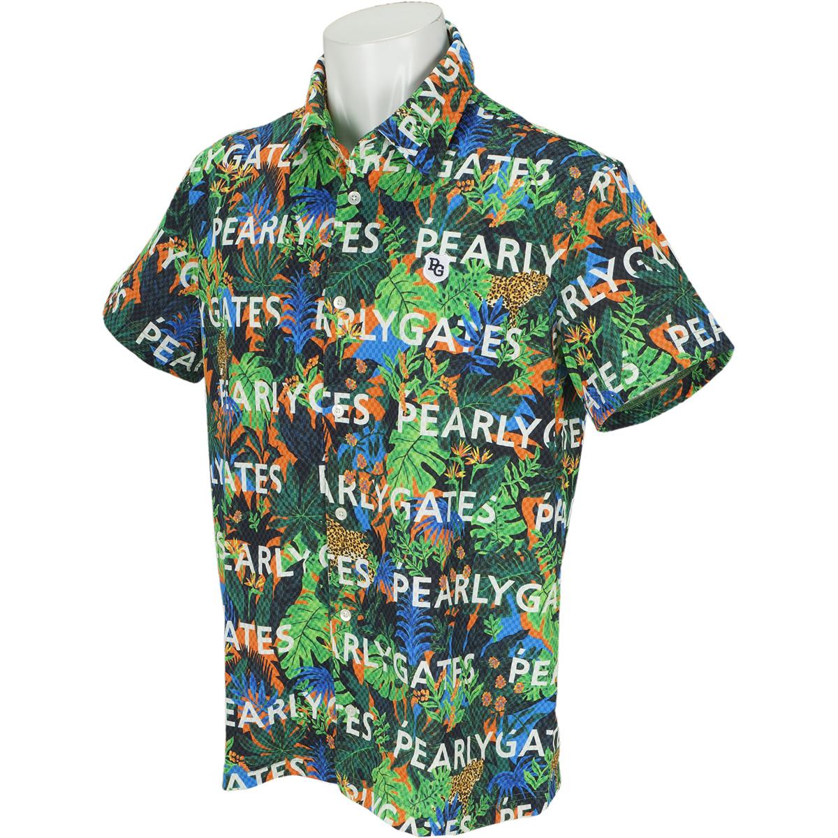 COOLMAXサッカーチェック ジャングル柄半袖ポロシャツ