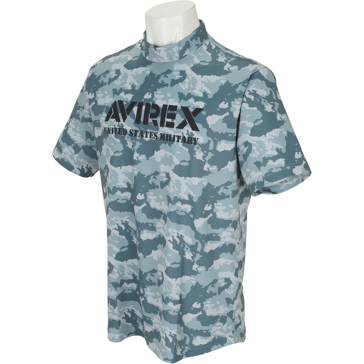 アビレックス ゴルフ AVIREX GOLF 半袖モックネックシャツ M グレーカモ