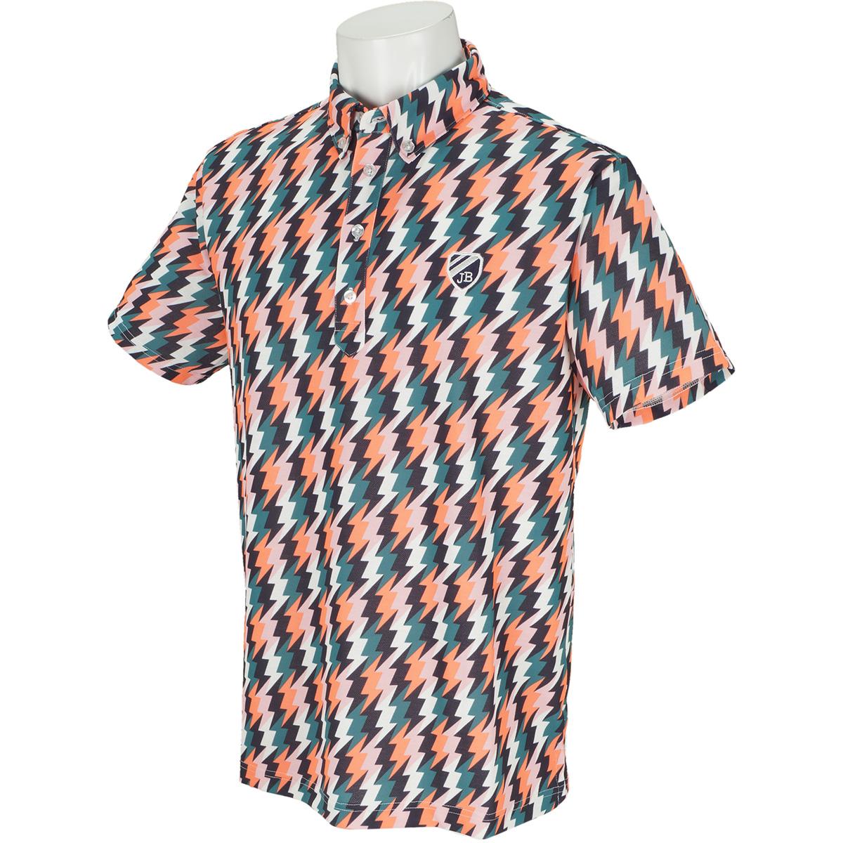 スパン鹿の子 イナズマプリント半袖ポロシャツ