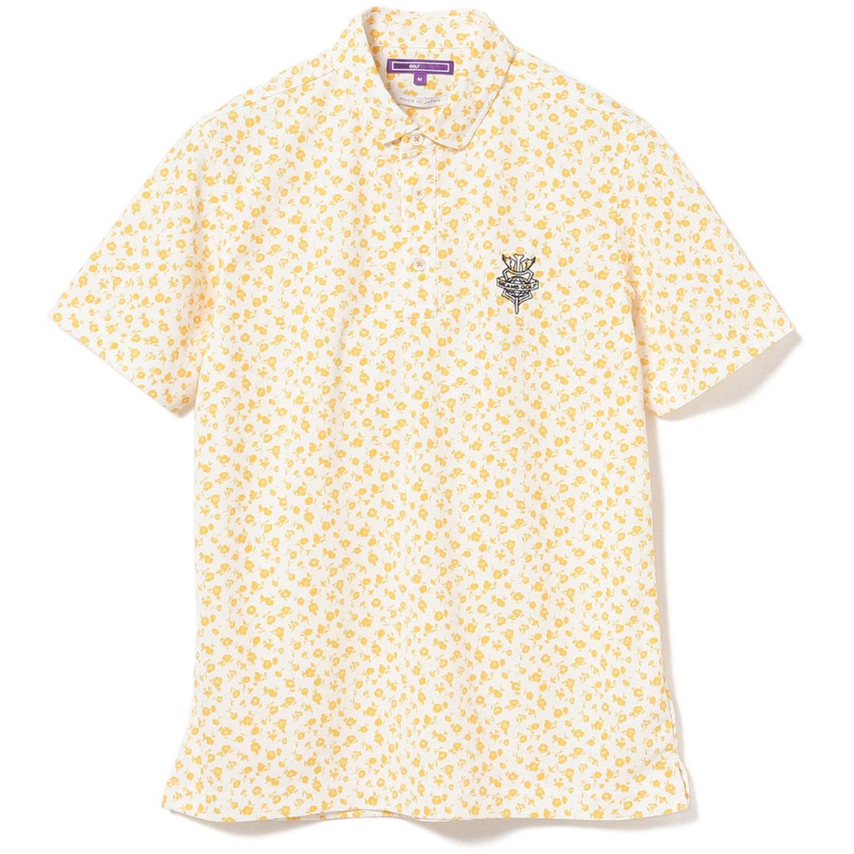 BEAMS GOLF PURPLE LABEL アサガオ プリント ポロシャツ