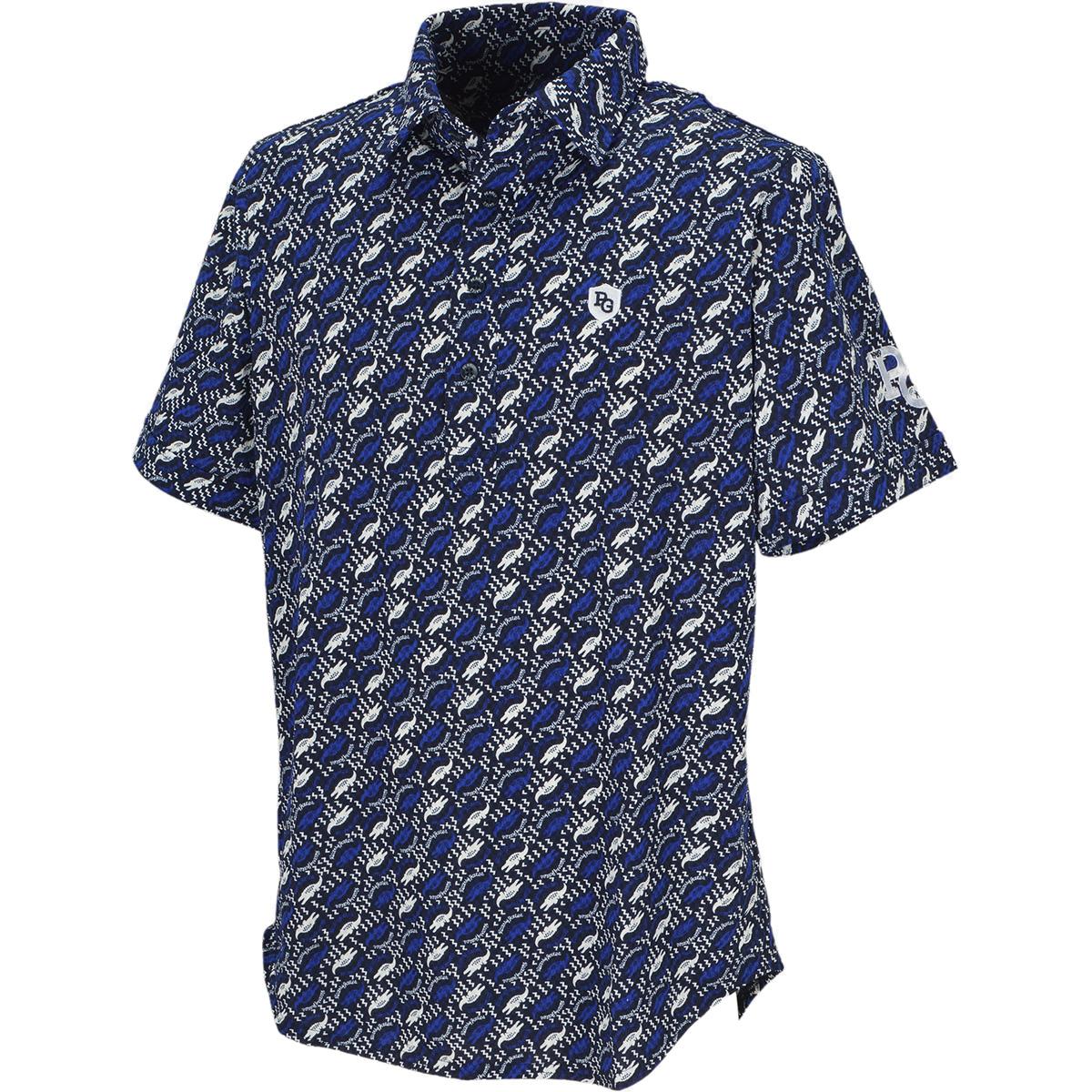 サッカーチェック ワニ柄プリント半袖ポロシャツ