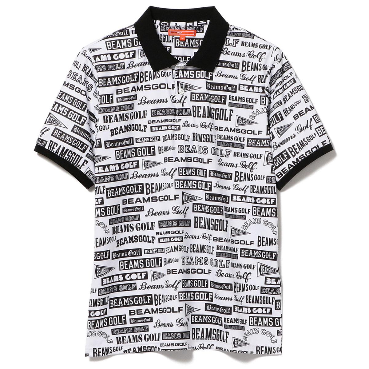 BEAMS GOLF ORANGE LABEL 総柄 マルチ ロゴ ポロシャツ