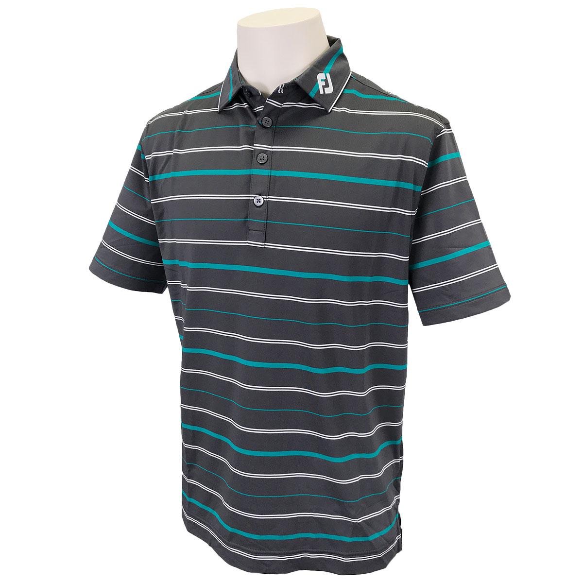 オープンストライプ ストレッチ 半袖ライルポロシャツ