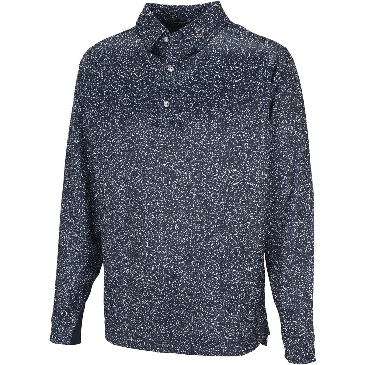 グラニットプリント 長袖ポロシャツ