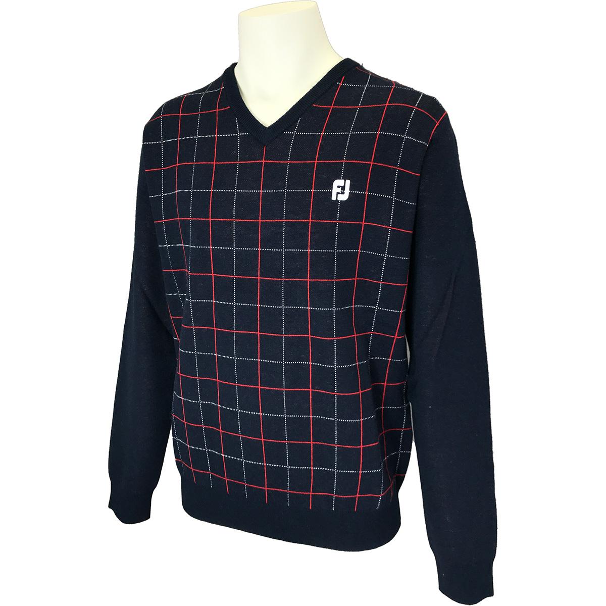 ウインドウペーンチェックVネックセーター