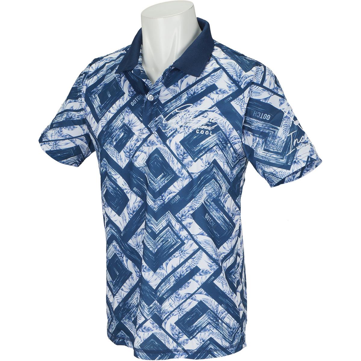 幾何学柄MIXボタニカルDRY 半袖ポロシャツ