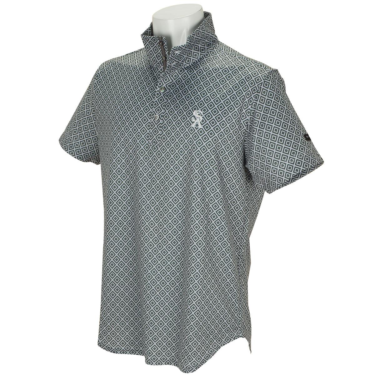 COOLMAX 鹿の子幾何学プリント 半袖ポロシャツ