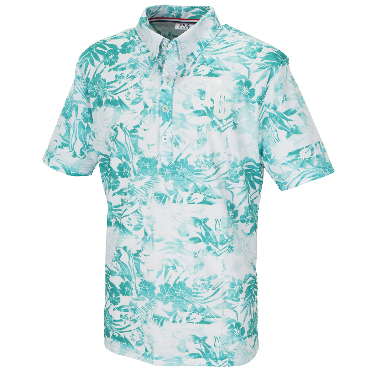 アロハ柄半袖ボタンダウンポロシャツ