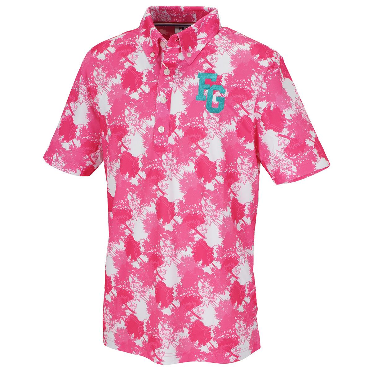 カモ柄半袖ボタンダウンポロシャツ