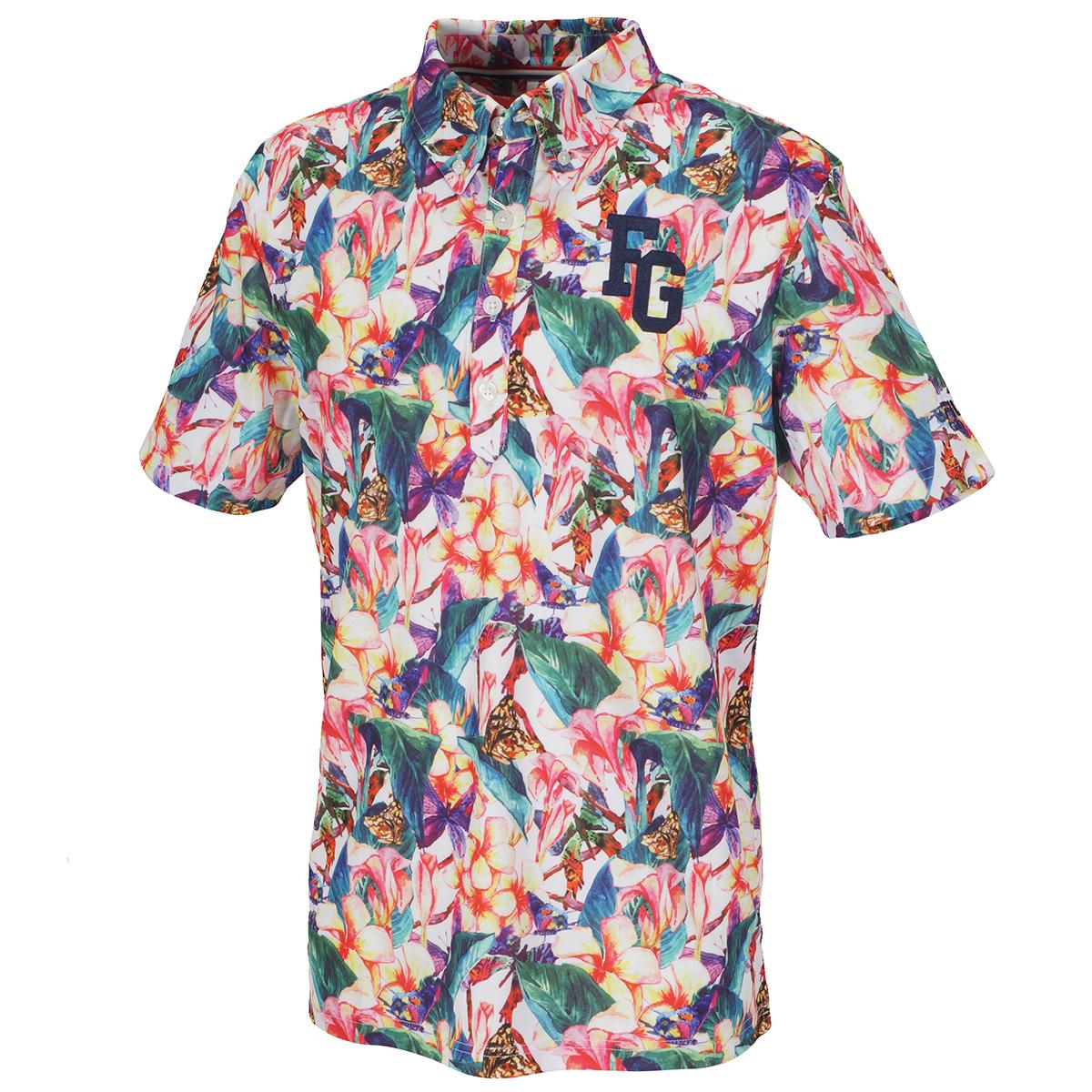 花柄 コミック柄半袖ボタンダウンポロシャツ