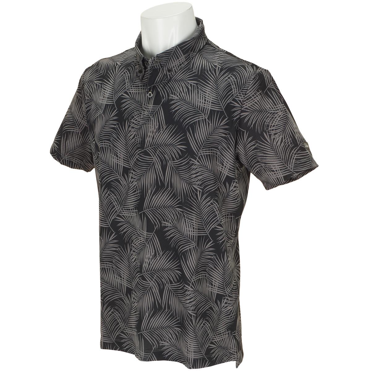 ストレッチ  パームツリープリント半袖ポロシャツ