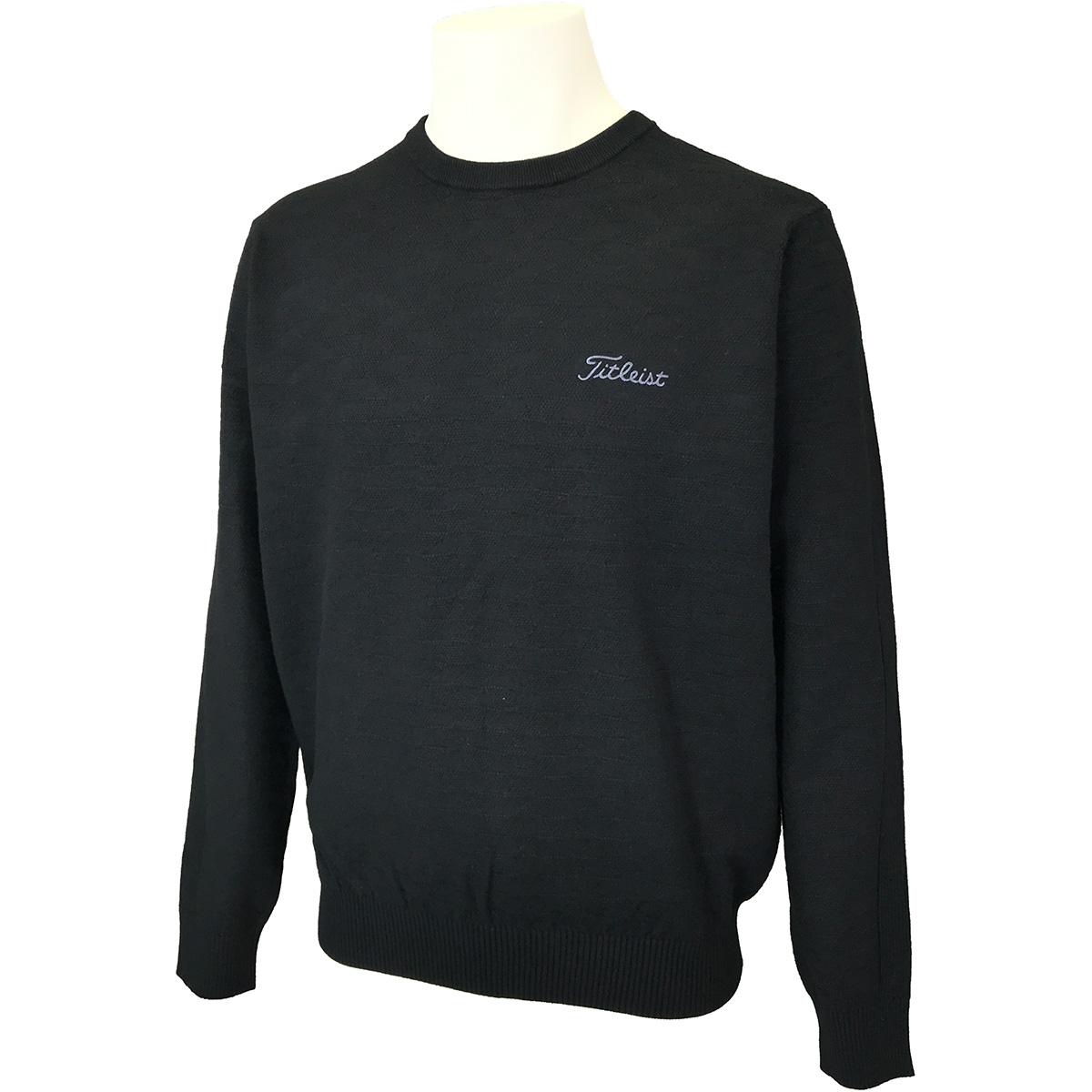 ストレッチ ヘリンボーン クルーネックセーター