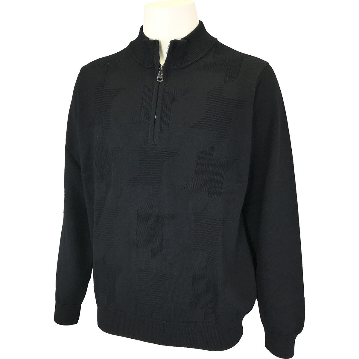 千鳥ジャカードハーフジップセーター