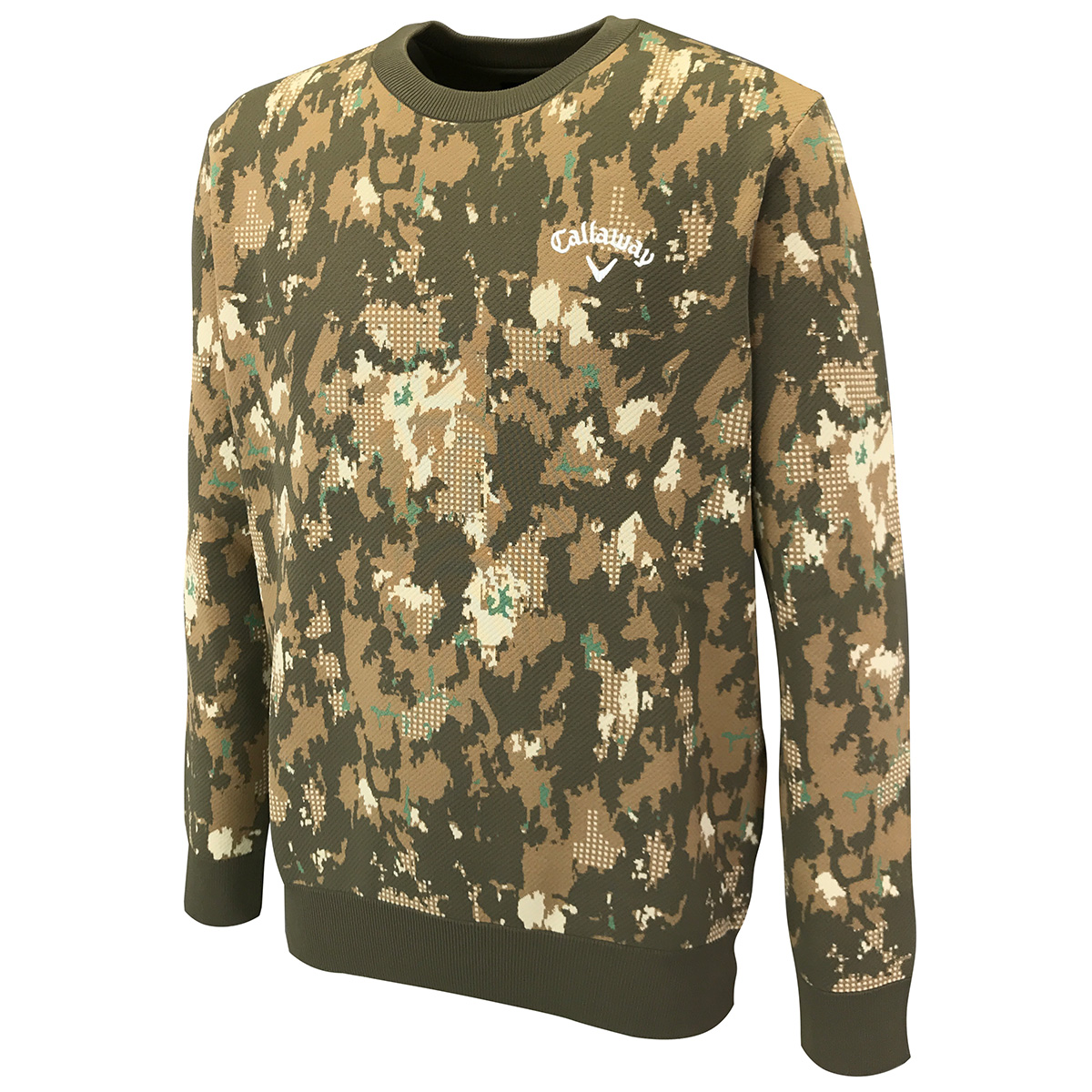 撥水ウッドパターン クルーネックセーター