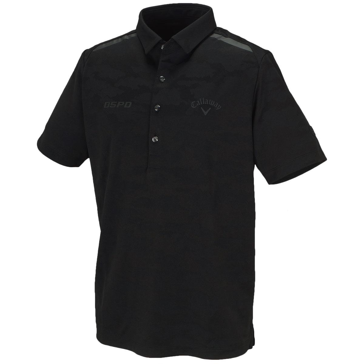 曇柄ジャカード 共襟ボックス半袖ポロシャツ