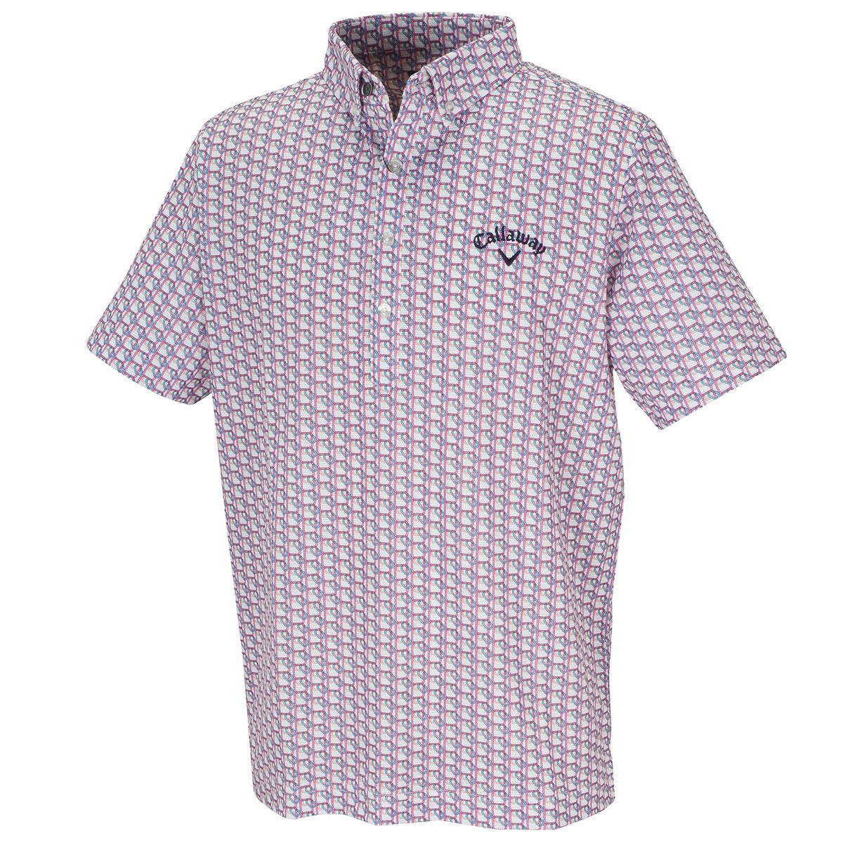 滑走路プリント ボタンダウンボックス半袖ポロシャツ