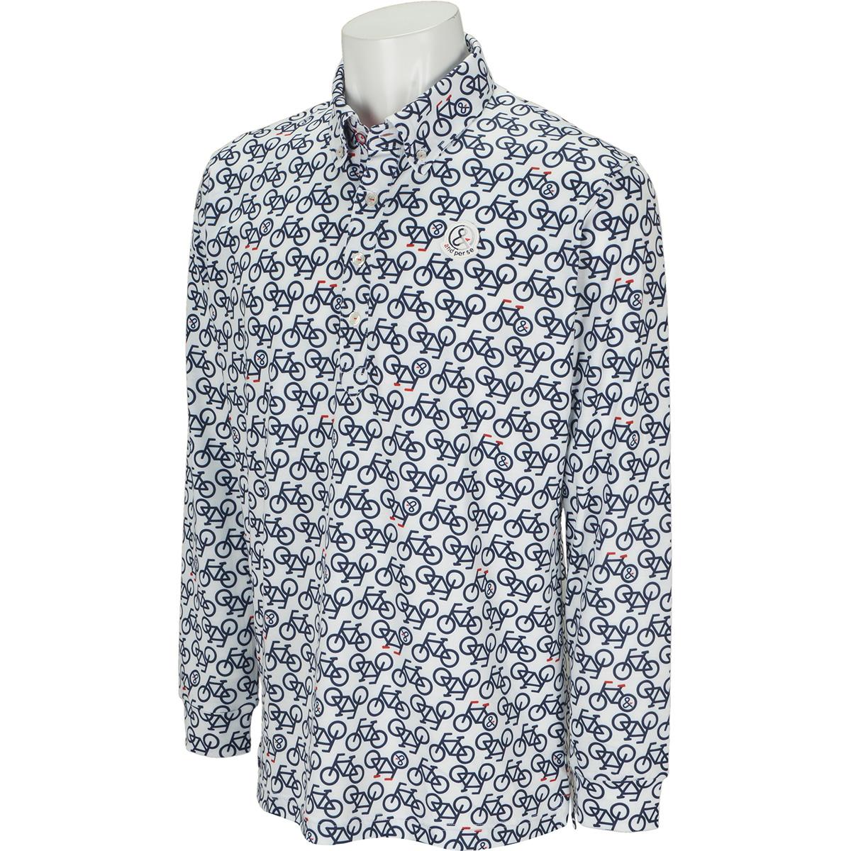 プリント長袖ポロシャツ