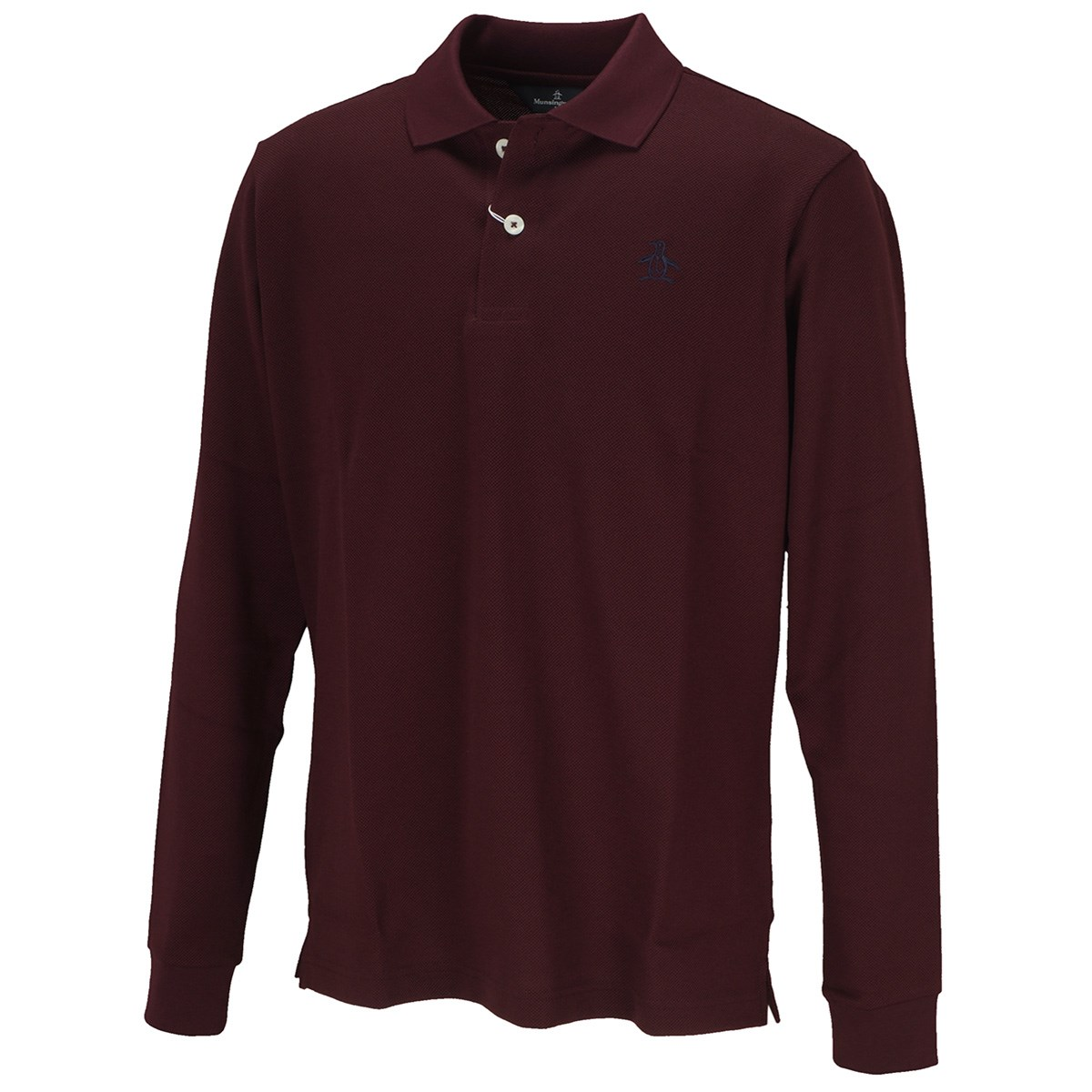 マンシングウェア Munsingwear マナード鹿の子長袖ポロシャツ M ボルドー W205