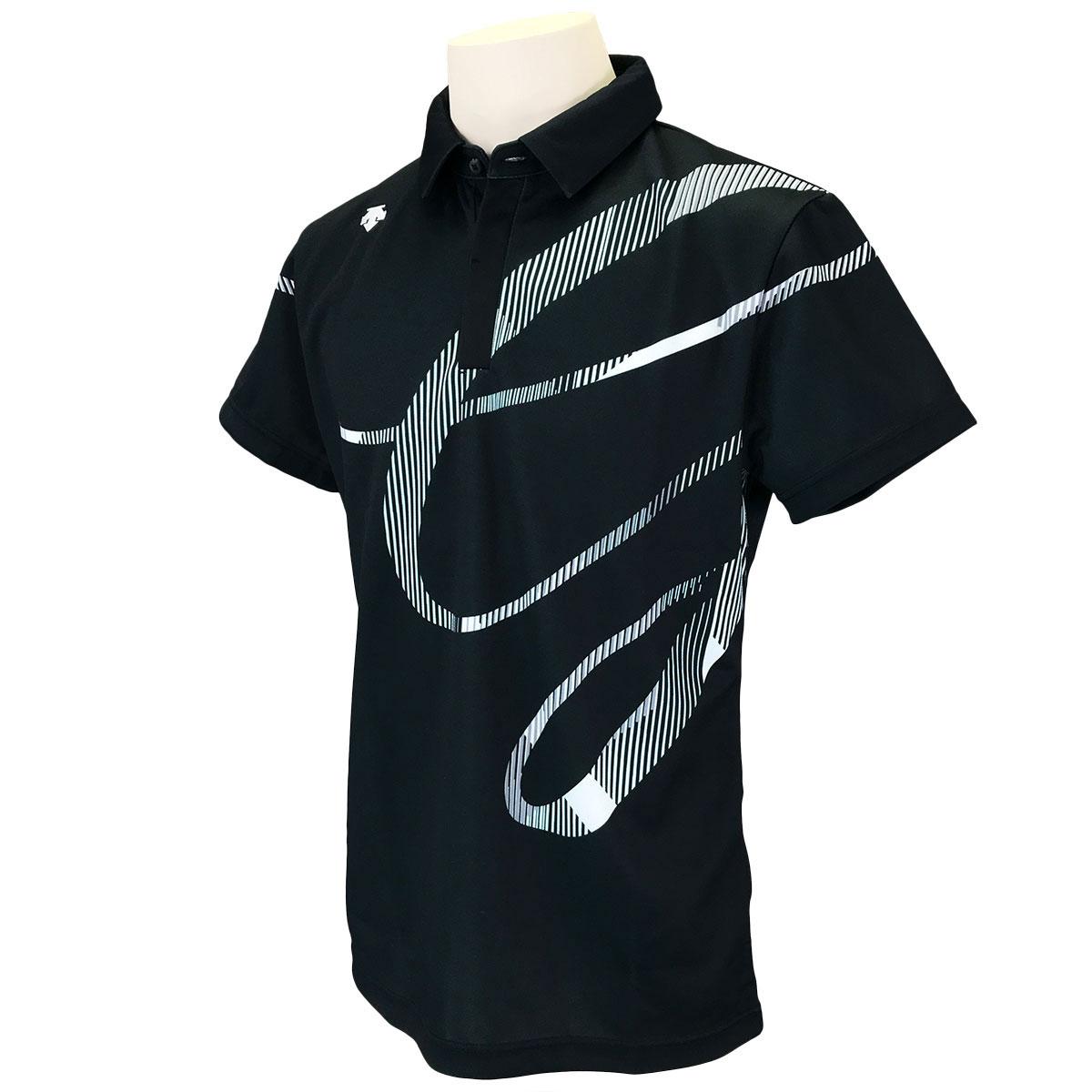 ECOダブルニット鹿の子 パネルプリント半袖ポロシャツ