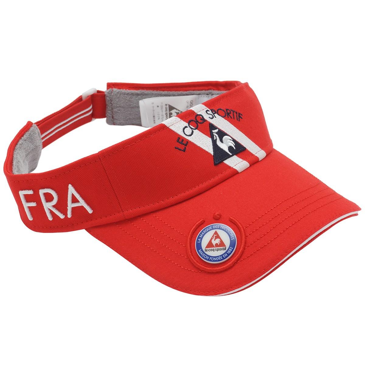 ルコックゴルフ Le coq sportif GOLF コットンツイルマーカー付きサンバイザー フリー レッド 00 レディス