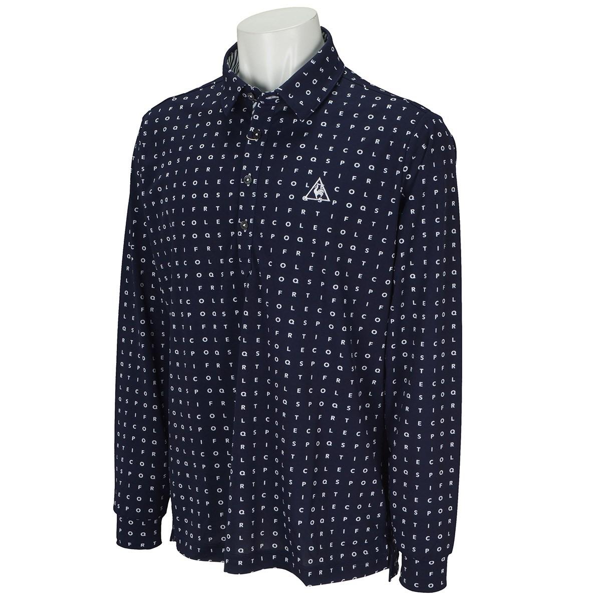 ルコックゴルフ Le coq sportif GOLF ミニタイポプリント長袖ポロシャツ L ネイビー 00