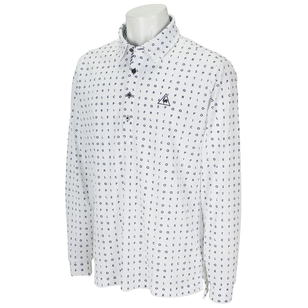 ルコックゴルフ Le coq sportif GOLF ミニタイポプリント長袖ポロシャツ M ホワイト 00