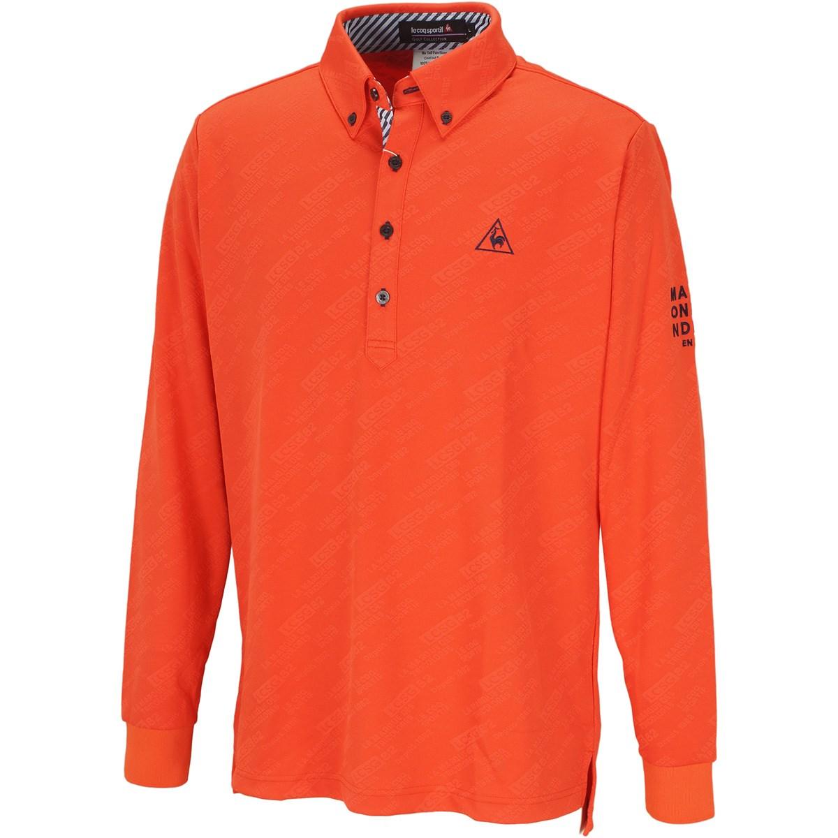 ルコックゴルフ Le coq sportif GOLF グラフィックジャカード長袖ポロシャツ L オレンジ 00
