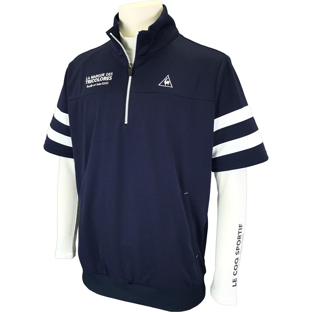 ルコックゴルフ Le coq sportif GOLF 長袖アンダーシャツ付き 半袖シャツ LL ネイビー 00