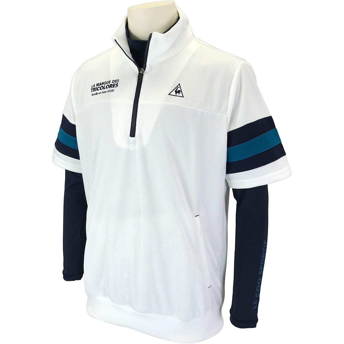 ルコックゴルフ Le coq sportif GOLF 長袖アンダーシャツ付き 半袖シャツ M ホワイト 00