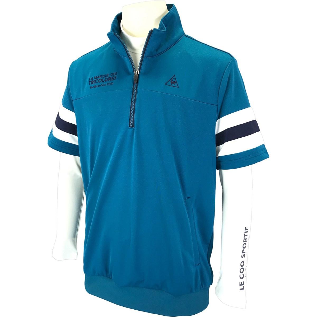 ルコックゴルフ Le coq sportif GOLF 長袖アンダーシャツ付き 半袖シャツ M ブルー 00